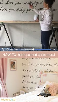 DIY Mural Design: This video gives you ideas for testing your hand painted letter mural using simple wall paint and art brush. Approximate cost $35. Hundreds of dollars saved versus a wallpaper option. See final mural on our blog post, Prima Ballerina Room Reveal. #mural #DIY #girlsroom #handpainted #kidsbedroom #walldecor #wallmural #wallart
