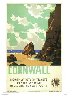"Vintage GWR Travel poster by Leonard Cusden. 1935 English Railway Travel Poster Print, Cornwall, ""The Cornish Riviera"" England by GWREnglish Railway Travel Poster Print, Cornwall, ""The Cornish Riviera"" England by GWR Posters Uk, Train Posters, Railway Posters, Vintage Travel Posters, Poster Prints, Gig Poster, Retro Posters, Movie Posters, Travel English"