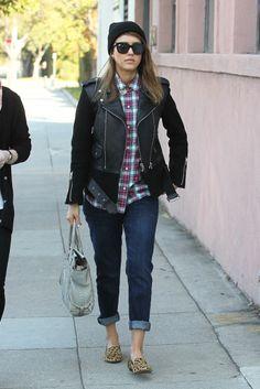 Jessica Alba - black leather kacket - tartan shirt - denim - leopard slippers - street style