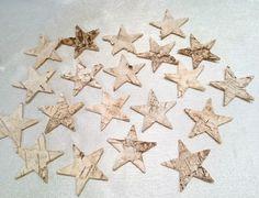 Birke, Holz,Rinde, Sterne, Bastelmaterial, 20 Stück, ca. 3,5-4cm