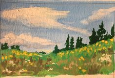Gouache thumbnail painting - Surrey Canada. I am creating little studies with gouache to help me get used to backgrounds and gouache. This was one of the better ones today. #gouache #painting #artwork #sketch #landscape #clouds #art