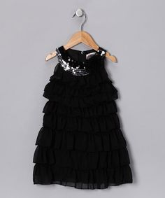 Take a look at this Black Sequin Ruffle Dress - Toddler by Paulinie on #zulily today!