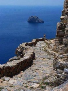 Seaside rocky trail toward the Monastery of Panagia Hozoviotissa, Amorgos island, Cyclades, Greece Places Around The World, Oh The Places You'll Go, Places To Travel, Places To Visit, Around The Worlds, Albania, Beautiful World, Beautiful Places, Amazing Places