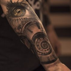 Oldie but goodie. Just made the finishing touch of details.  #bishoprotary #tattoo #realistictattoo #eye #spiralclock #clock