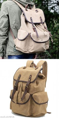 Retro Leather Strap Rucksack Thick Canvas Large Travel College Backpack   backpack  bag  school d5cc2db8fb