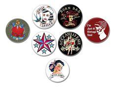 Rockabilly Vintage buttons/badges set of 7!  #rockabilly #hotrod #vintage #sailor #heart #buttons #badges #pins #pinbacks #rocknroll