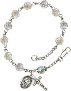 Sterling Silver Rosary Bracelet features 6mm Crystal Swarovski, Austrian Tin Cut Aurora Borealis beads. The Crucifix measures 5/8 x 1/4. Each Rosary Bracelet is