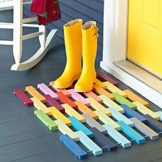 DYI floor mat from Lowe's    http://lowescreativeideas.com/idea-library/projects/Wooden_Floor_Mat.aspx