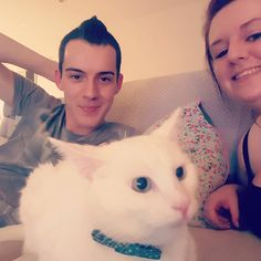 Family selfie with Victor #whitecats #catsofinstagram