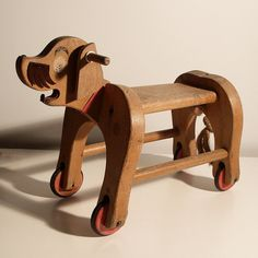 Ancient dog carts robust children's toys made of by vintagehall, via Etsy.