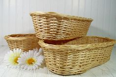 Large Wicker Bread Basket  Vintage Woven by DivineOrders on Etsy, $10.00