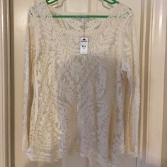Express lace top Express beautiful lace top. Cream in color. Express Tops Blouses
