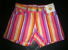 Gymboree Pretty Posies Stripe Adjustable Shorts Pink Orange Green Size 3 NWT NEW