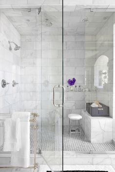 Bathroom - White Marble Shower