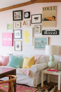 Marie Marie Kaczmarski Chicago Apartment Tour // office // gallery wall // Design Farrow & Ball Middleton Pink paint // USA white couch // Burton Burton Wilson Textiles pillows // mint gourd lamp // photography by Stoffer Photography