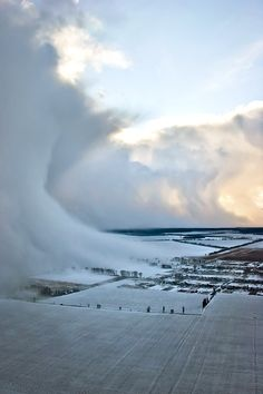 Storm in the making.  On the final landing approach to the Kiev airport, a strange effect of different pressures creating a giant snow wave Photo by Pedro Moura Pinheiro