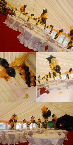 Fiesta temática de graduación de colores negro y dorado. #Fiesta DeGrado