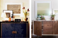 Matouk-Bar-Credenzas Left: Home of Aerin Lauder designed by Jacques Granges in New York Times Right: Photo by Liz Daly for Design Sponge
