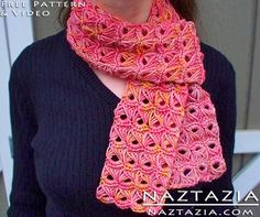 Free Pattern - Crochet Broomstick Lace Scarf with YouTube Tutorial Video by Naztazia
