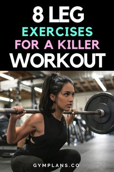 🔥 Try these 8 Leg Exercises for a killer gym workout. Can be used by both wom… 🔥 Try these 8 Leg Exercises for a killer gym workout. Can be used by both women. Leg Workout Women, Weights Workout For Women, Best Leg Workout, Legs Exercise For Women, Gym Plan For Women, Gym Weights, Killer Leg Workouts, Leg Day Workouts, Fun Workouts