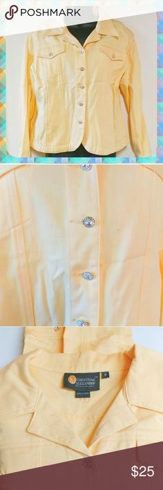 Crystal Buttons Pastel Yellow Jacket Excellent condition Twill stretchy blend material Medium weight Crystal bling buttons Super cute!!  Smoke and pet free christine alexander Jackets & Coats Jean Jackets