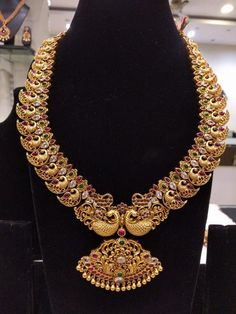 Traditional & Temple Bridal Jewelry Mango Shaped Long Necklace in Silver and Gold Polish with Ruby's,Emeralds,American Diamonds Antique Jewellery Designs, Gold Jewellery Design, Jewellery Box, Gold Jewelry Simple, Stylish Jewelry, Dainty Jewelry, Jewelry Rings, Silver Jewelry, Indian Wedding Jewelry