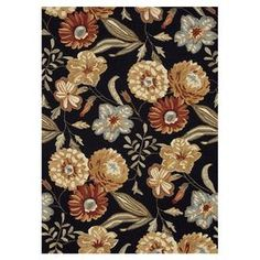 Handcrafted floral rug.  Product: RugConstruction Material: 100% PolyesterColor: Black and multiFeatures: HandmadeNote: Please be aware that actual colors may vary from those shown on your screen. Accent rugs may also not show the entire pattern that the corresponding area rugs have.Cleaning and Care: Clean spills immediately by blotting with a clean sponge or cloth. Vacuum carefully without beater bar. Professional cleaning recommended. Rug pad recommended for use on hard floor.