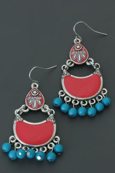 Nice red / blue colored earrings €6.95