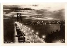 Vintage San Francisco Bay Bridge J K Piggott 1930s Real Photo Postcard Number 1248 Suspension Bridge at Night