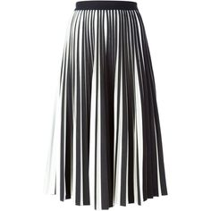 Proenza Schouler Pleated Midi Skirt ($1,936) ❤ liked on Polyvore featuring skirts, black, mid calf black skirt, high waisted knee length skirt, knee length pleated skirt, midi skirt and high rise skirts