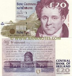 ireland currency | Ireland 20 Pounds 1992-1999 - Irish Currency Bank Notes, Paper Money ...