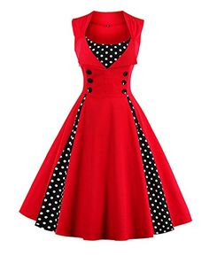Women's Cocktail Dresses - Killreal Womens Polka Dot Retro Vintage Style Cocktail Party Swing Dress *** Details can be found by clicking on the image. (This is an Amazon affiliate link)