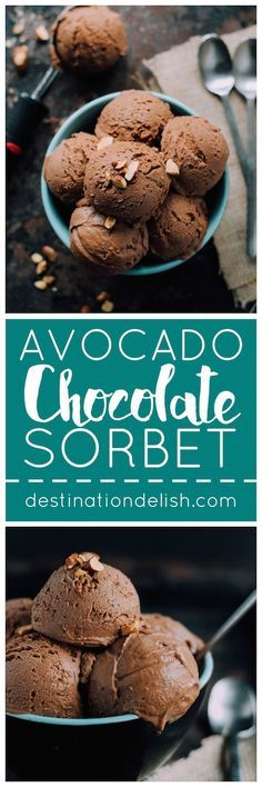 Avocado Chocolate Sorbet | Destination Delish – a gluten free, vegan, and paleo-friendly dessert combining creamy avocado with coconut milk and cocoa powder for a luscious frosty treat!