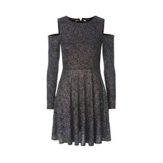 Topshop Glitter Tie Back Cold Shoulder Dress ($55) ❤ liked on Polyvore featuring dresses, multi, cold shoulder cocktail dress, open shoulder dress, party dresses, long sleeve pleated dress and long sleeve party dresses