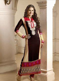 Buy Bollywood Designer Sunny Leone Anarkali Dress In Brown $72.59 Shop at - bollywood-ankle-length-anarkali.blogspot.co.uk/2014/06/buy-bollywood-designer-sunny-leone_18.html
