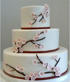 Cherry Blossom Wedding Cake  NightKitchenBakery.com