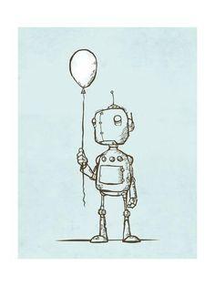 Giclee Print: Robot Balloon by Michael Murdock : 24x18in