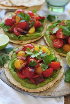 Oh wow - YUM! Healthy way to eat a BLT, this looks so fresh and delicious, can't wait to try. via Bev Cooks BLT tostadas Mexican Food Recipes, New Recipes, Cooking Recipes, Favorite Recipes, Healthy Recipes, Healthy Snacks, I Love Food, Good Food, Yummy Food