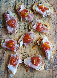 Jamon Serrano and Red Tomato Preserves on Toast