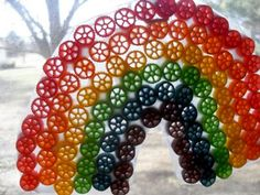 Rainbow pasta suncatcher - cute VBS craft idea~soo stinken cute to make and then hand in the windows!!  Tristan will love this!