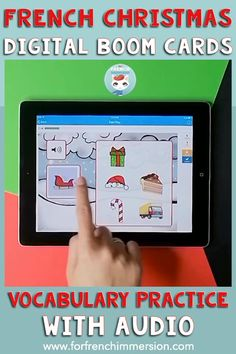"Want a digital way for your kiddos to practice Christmas-related French vocabulary words? Check out these French Boom Cards with audio that play on tablets, computers, and interactive whiteboard. Use them in the classroom to integrate more technology, or assign them to be used at home as homework or for distance learning. Great for French Immersion and Core French students to practice easy listening comprehension ""en français""."