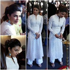 For a video shoot for a UNICEF programme today, Kareena Kapoor kept it simple in a white embroidered Anita Dongre kurta set. Strong eyes, a ponytail . Indian Frocks, Indian Dresses, Pakistani Outfits, Indian Outfits, Indian Clothes, Indian Attire, Indian Wear, Salwar Designs, Kareena Kapoor Khan
