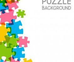 Vector background with colored puzzle 04