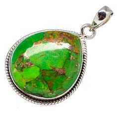"""Green Copper Composite Turquoise 925 Sterling Silver Pendant 1 1/2"""" PD556227"""