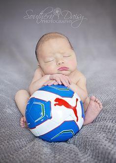 Could do this with rugby ball instead | newborn baby boy soccer southern daisy photography more baby boy