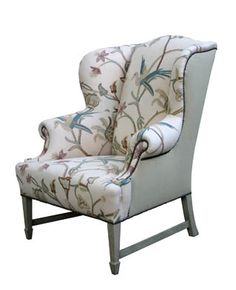"Hollyhock Wingback Chair  Upholstered in Suzanne Rheinstein* Hollyhock   for Lee Jofa   ""Mimi Embroidery"" in Quartz with White Oak, Distressed Finish Legs and Stretchers"