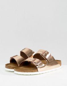 Birkenstock Arizona Metallic Copper Leather Flat Sandals - Copper