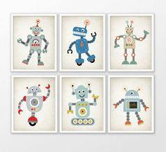 Cute Robot Nursery Prints Set Of 6 - Robot Art - Baby Boy Shower Gift - Kids Playroom Decor - Boys Nursery Pictures - Robot Wall Art #171