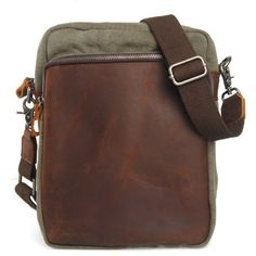 CLELO Small Vintage Genuine Leather Canvas Crossbody Messenger Shoulder Bag Army Green -- Want additional info? Click on the image.