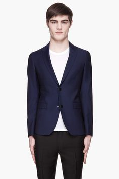 RAF SIMONS Navy two-button Special Revers blazer